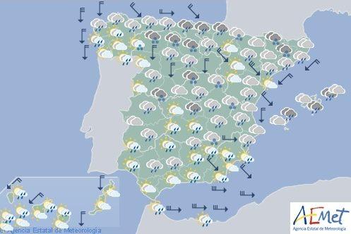 Hoy en España, precipitaciones en el Cantábrico con nieve en zonas de montaña