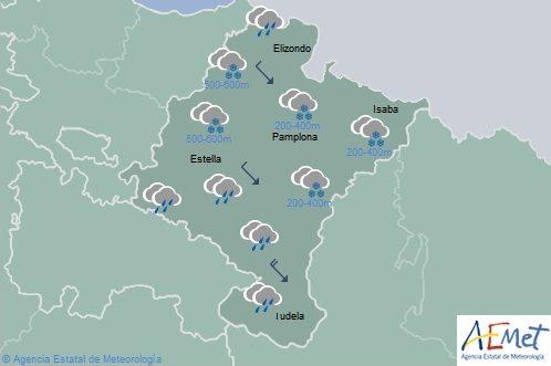 En Navarra precipitaciones generalizadas con nieve, temperaturas en descenso