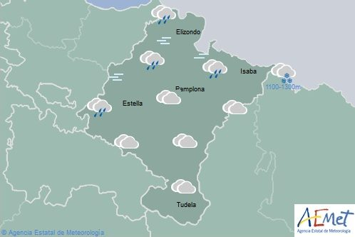 En Navarra nuboso con lluvias débiles en el norte, nieve en los Pirineos subiendo a 1500 m.