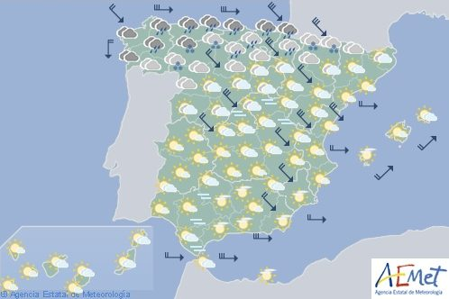 Hoy en España, viento fuerte y precipitaciones en el Cantábrico, nevadas en los Pirineos