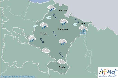 En Navarra precipitaciones generalizadas, cota de nieve y temperaturas en descenso