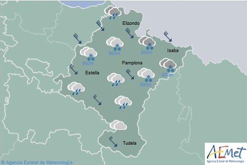 En Navarra cielo cubierto con precipitaciones generalizadas y temperaturas con pocos cambios