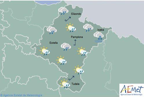 Precipitaciones generalizadas en Navarra y temperaturas con pocos cambios