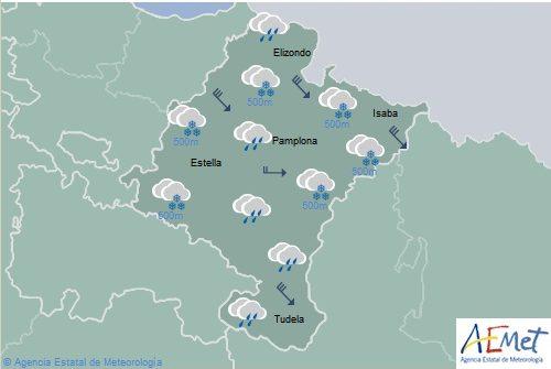 En Navarra precipitaciones generalizadas, cota de nieve entorno a 500 metros