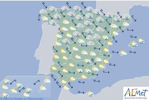 Hoy en España, viento fuerte en el norte y este, precipitaciones persistentes en el Cantábrico y Pirineos
