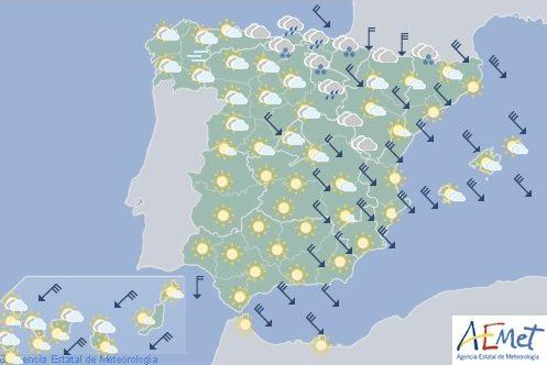 Hoy en España, viento fuerte en Pirineos, Ampurdán, bajo Ebro,Alicante y Baleares