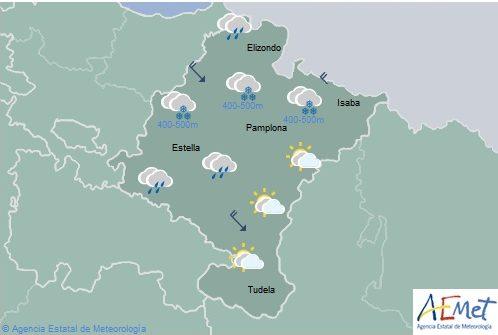Nieve en cotas bajas de Navarra y temperaturas con pocas variaciones