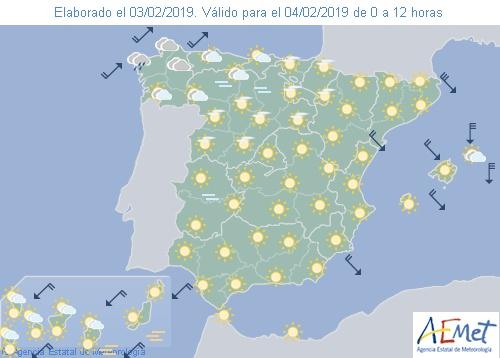 Hoy en España, tiempo estable y ascenso de temperaturas diurnas