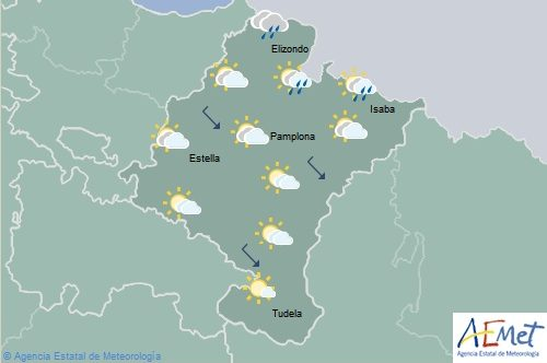 Lluvias débiles en el norte de Navarra, temperaturas máximas con pocos cambios