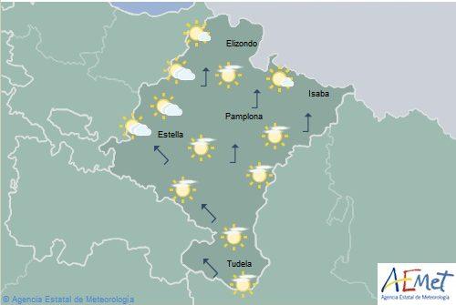 En Navarra poco nuboso o despejado con temperaturas en ascenso en el norte