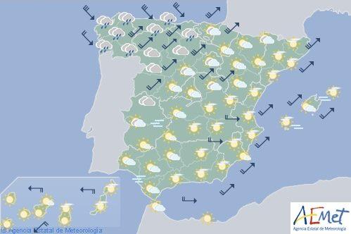 Hoy en España, viento y lluvias fuertes en Galicia, temperaturas en descenso