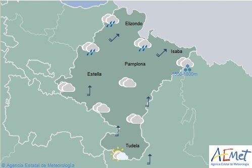 En Navarra chubascos en el noroeste, cota de nieve bajando a 900-1000 m. en el Pirineo