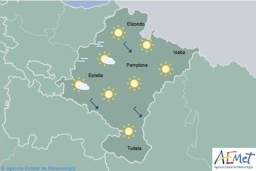 Despejado en Navarra con temperaturas máximas en ascenso