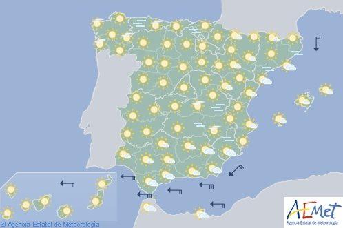 Hoy en España, tiempo estable y viento de levante fuerte en el Estrecho
