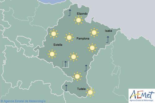 Cielo despejado en Navarra con temperaturas en ligero ascenso