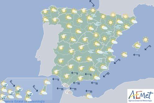 Hoy en España viento fuerte en litorales del sureste y norte de Navarra, levante en el Estrecho