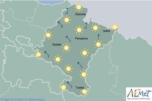 Cielo poco nuboso en Navarra con rachas fuertes de viento en el noroeste y Pirineos