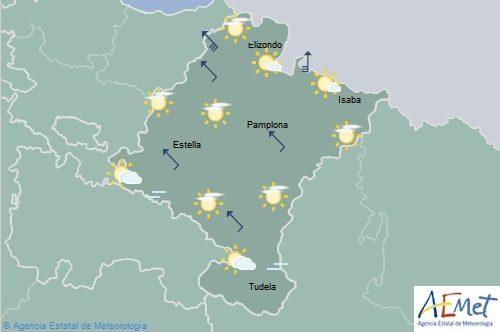 Poco nuboso en Navarra con viento fuerte en el norte y noroeste