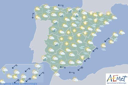 Hoy en España, cielos nubosos en el interior, Ceuta y Melilla y lluvias en Cantábrico