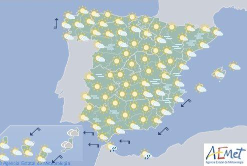 Hoy en España persiste el cielo poco nuboso y suben las temperaturas