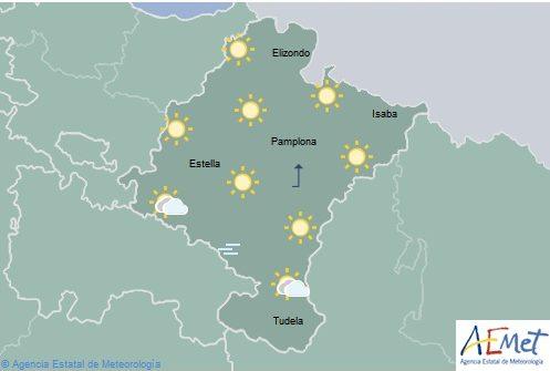 Poco nuboso o despejado en Navarra con vientos flojos de componente sur