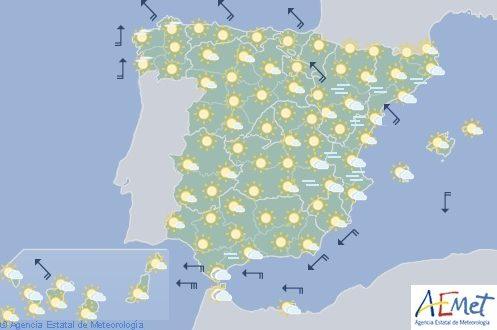 Hoy en España predominio cielo poco nuboso