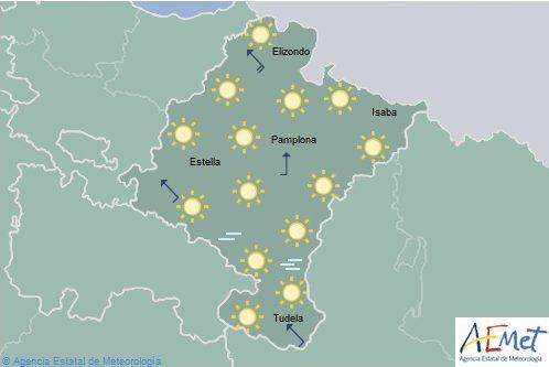 En Navarra cielo despejado con temperaturas en ligero ascenso