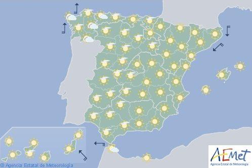 Hoy en España cielo poco nuboso, temperaturas con valores superiores a la época del año