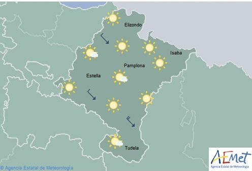 Despejado en Navarra con intervalos de nubes altas
