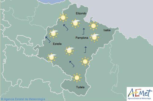Cielo despejado en Navarra con temperaturas mínimas en aumento