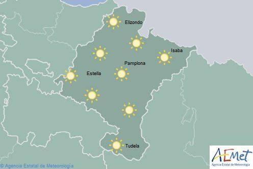 Cielo despejado en Navarra y temperaturas en ligero ascenso
