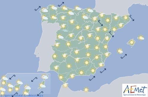 Hoy en España, las temperaturas bajan en el norte y suben en el sur, cielo poco nuboso