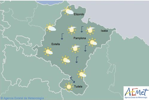 En Navarra intervalos de nubes altas y temperaturas máximas en descenso
