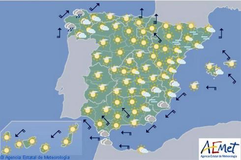 Hoy en España, predomina el cielo despejado con lluvia persistente en Galicia