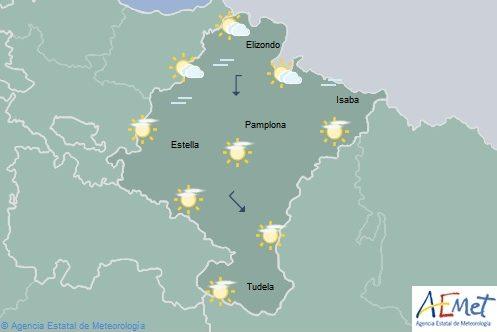 Intervalos de nubes altas en Navarra y temperaturas con ligeros cambios