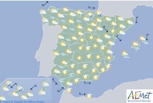 Hoy en España, nuboso con probabilidad de lluvias débiles en el Cantábrico oriental