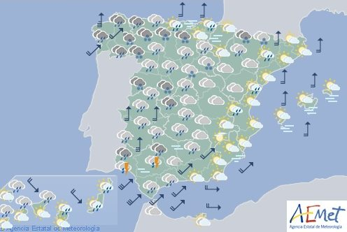 Hoy en España, lluvias persistentes o fuertes en Galicia, Sistema Central y Pirineos