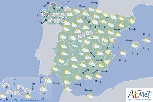 Hoy se esperan viento fuerte en gran parte de España incluidos archipiélagos