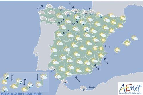 Hoy en España, lluvias débiles en el Cantábrico, Pirineos y extremo sur de Andalucía