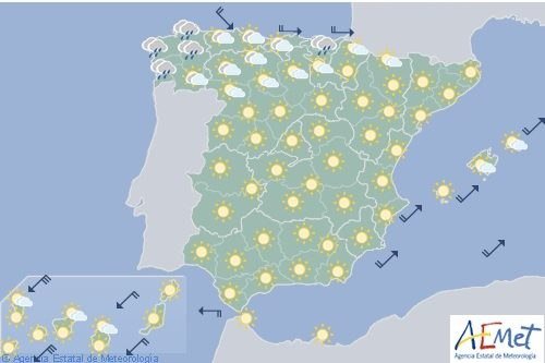 Hoy en España predominio de cielo poco nuboso y temperaturas en asecenso