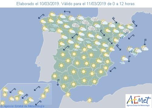Hoy en España viento fuerte en el nordeste y temperaturas bajan salvo en Andalucía
