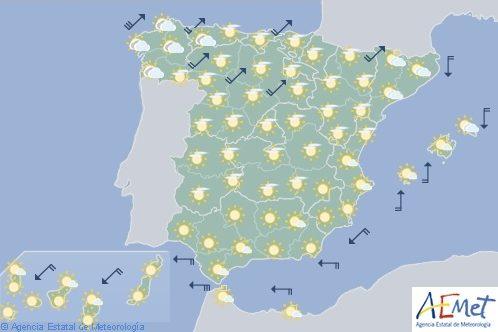 Hoy en España predominio de tiempo estable y cielo poco nuboso