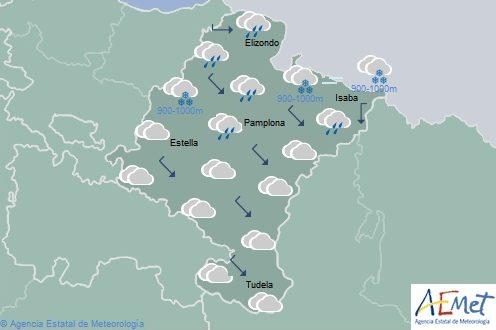 En Navarra temperaturas máximas en descenso notable, precipitaciones en el norte