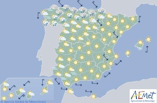 Hoy en España viento fuerte en el Ebro y Ampurdán con descenso de temperaturas en el tercio norte