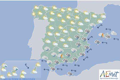 Hoy en España precipitaciones fuertes en el sur del área mediterránea y Andalucía