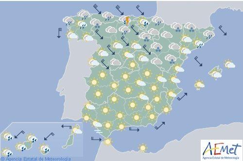 Hoy en España descenso térmico en el norte, nevadas en la cordillera Cantábrica y Pirineos