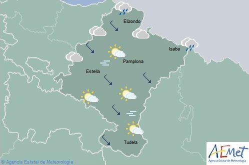 En Navarra lluvias débiles, temperaturas máximas en ascenso