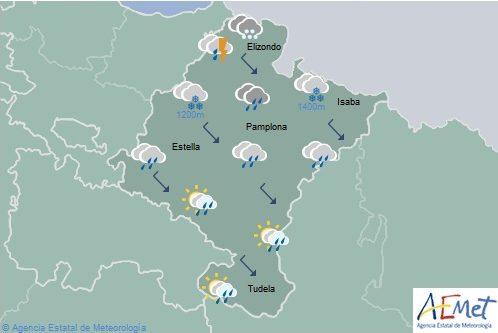 En Navarra precipitaciones de generalizadas, cota de nieve bajando a 500-700 metros