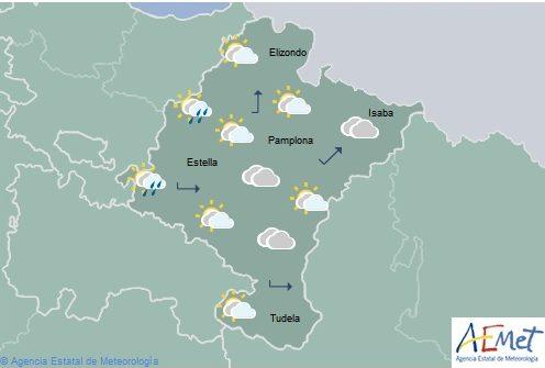 Intervalos nubosos tendiendo a cubierto en Navarra, temperaturas con pocos cambios
