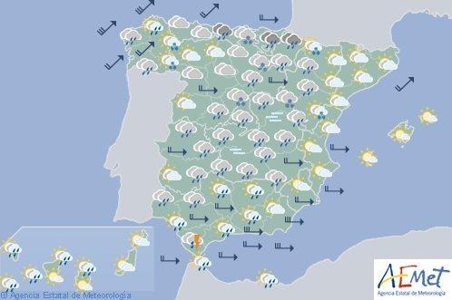 Hoy en España lluvias persistentes y viento fuerte en Galicia y litorales del sureste